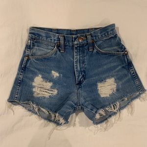 Wrangler Shorts - Vintage Wrangler Cut Off Denim Jean Shorts 25